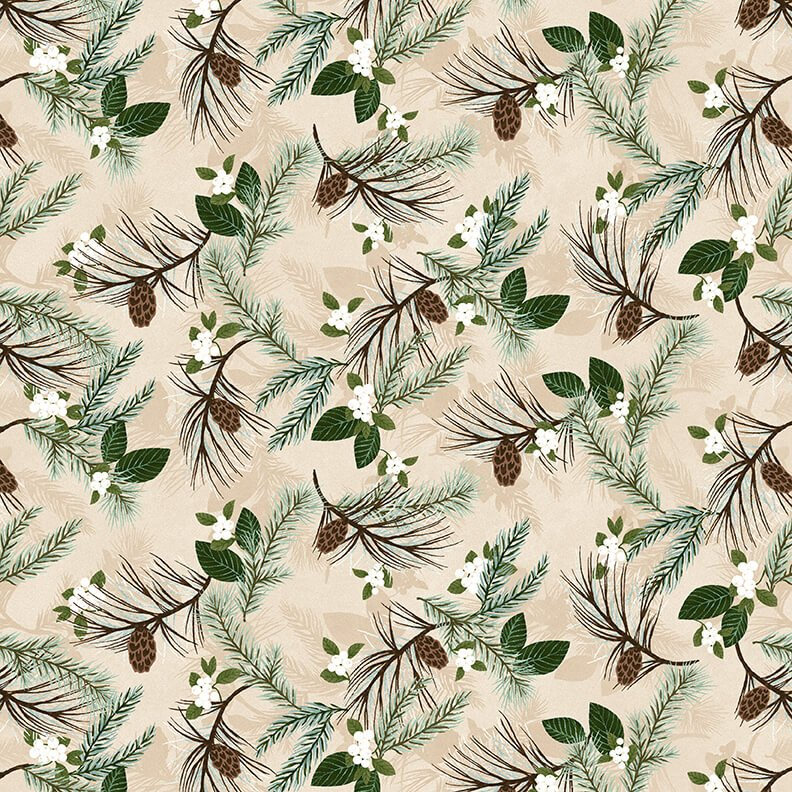 Folk Art Flannels 4 Pine Boughs Cream