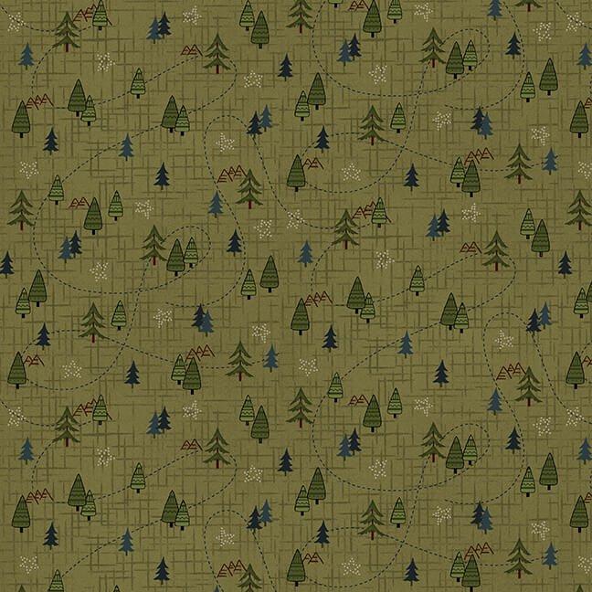 Folk Art Flannels 4 Mini Trees Green