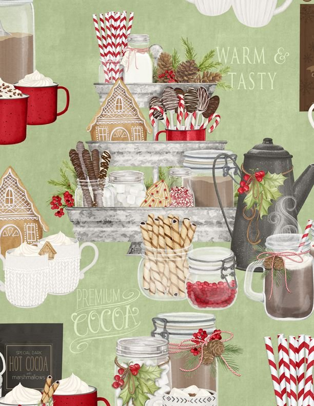 Hot Cocoa Bar Large Allover Green