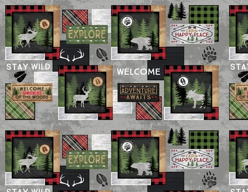 Cabin Welcome Flannel Sampler Panel (~25x44) #134134