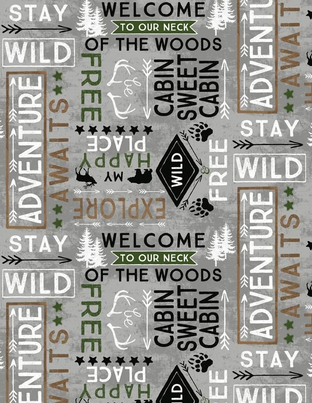 Cabin Welcome Flannel Word Toss Gray