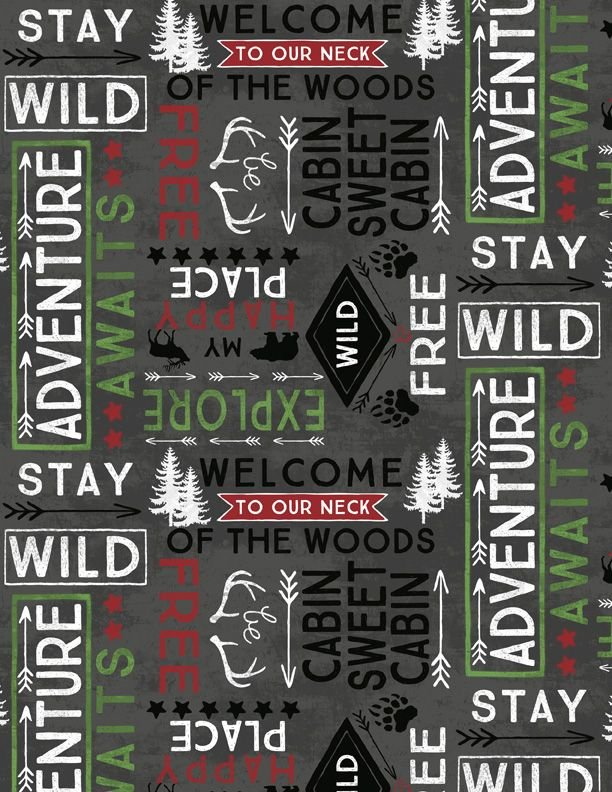 Cabin Welcome Flannel Word Toss Black