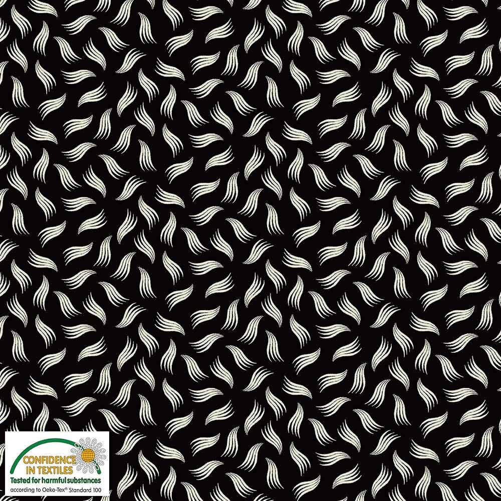 Quilters Combination Leaves & Feathers Black 031