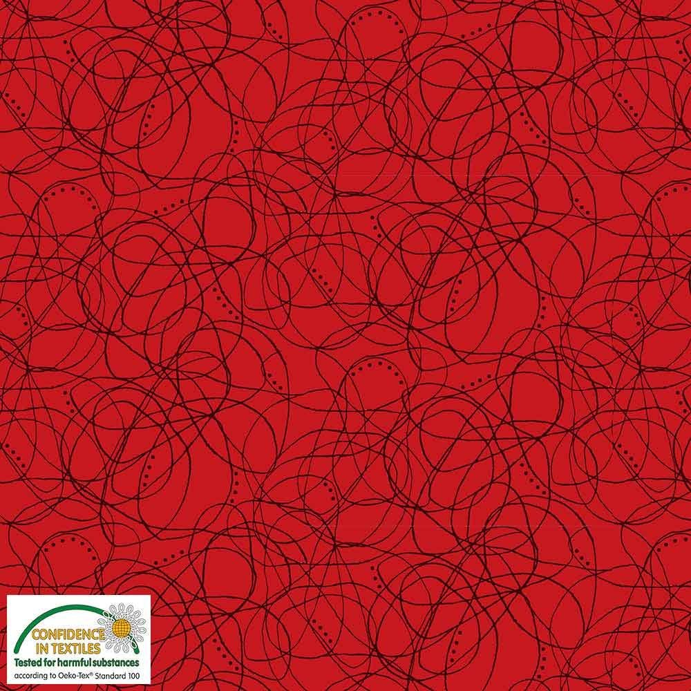 Quilters Combination Lines & Dots Red 043