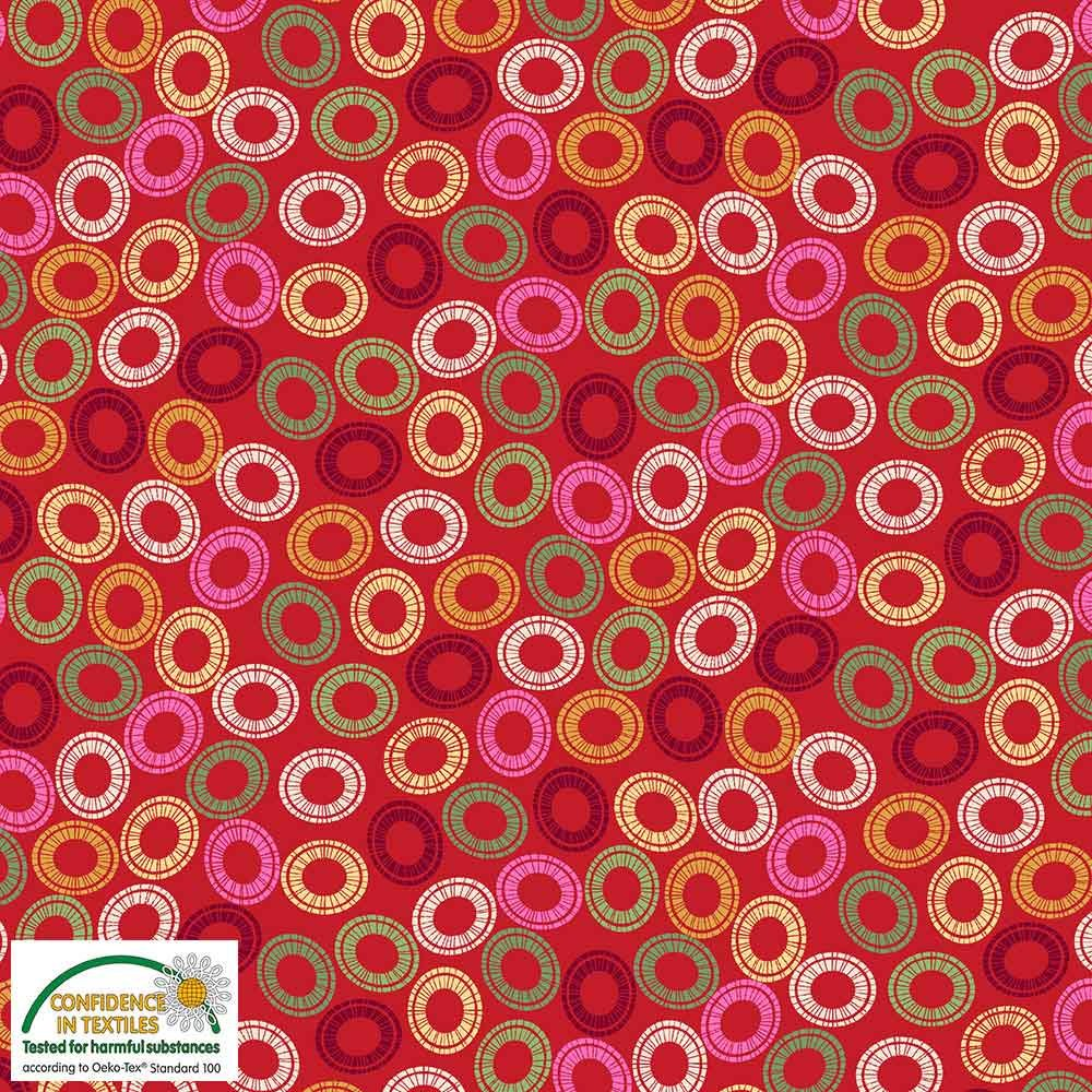 Quilters Combination Multi Circles Red 056
