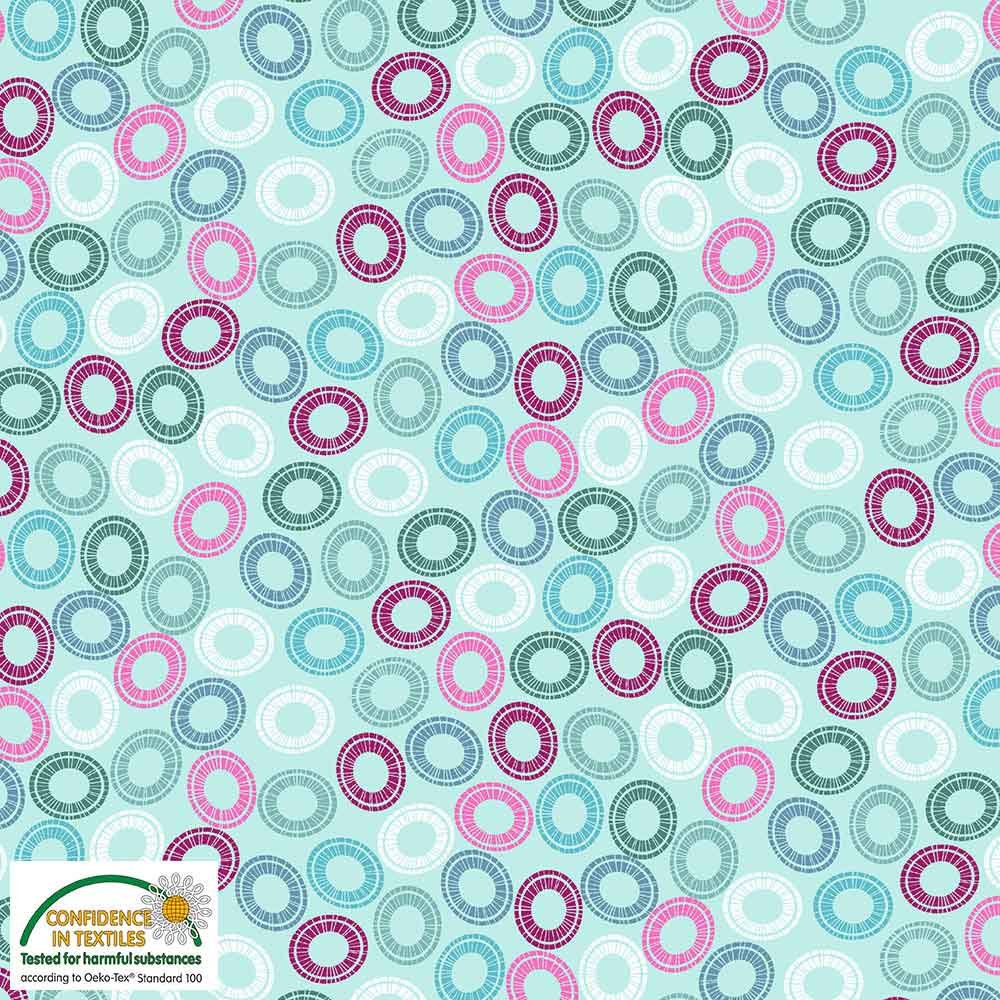 Quilters Combination Multi Circles Mint 057
