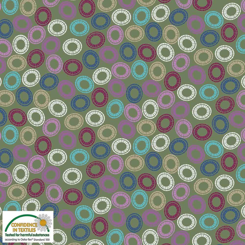 Quilters Combination Multi Circles Green 058
