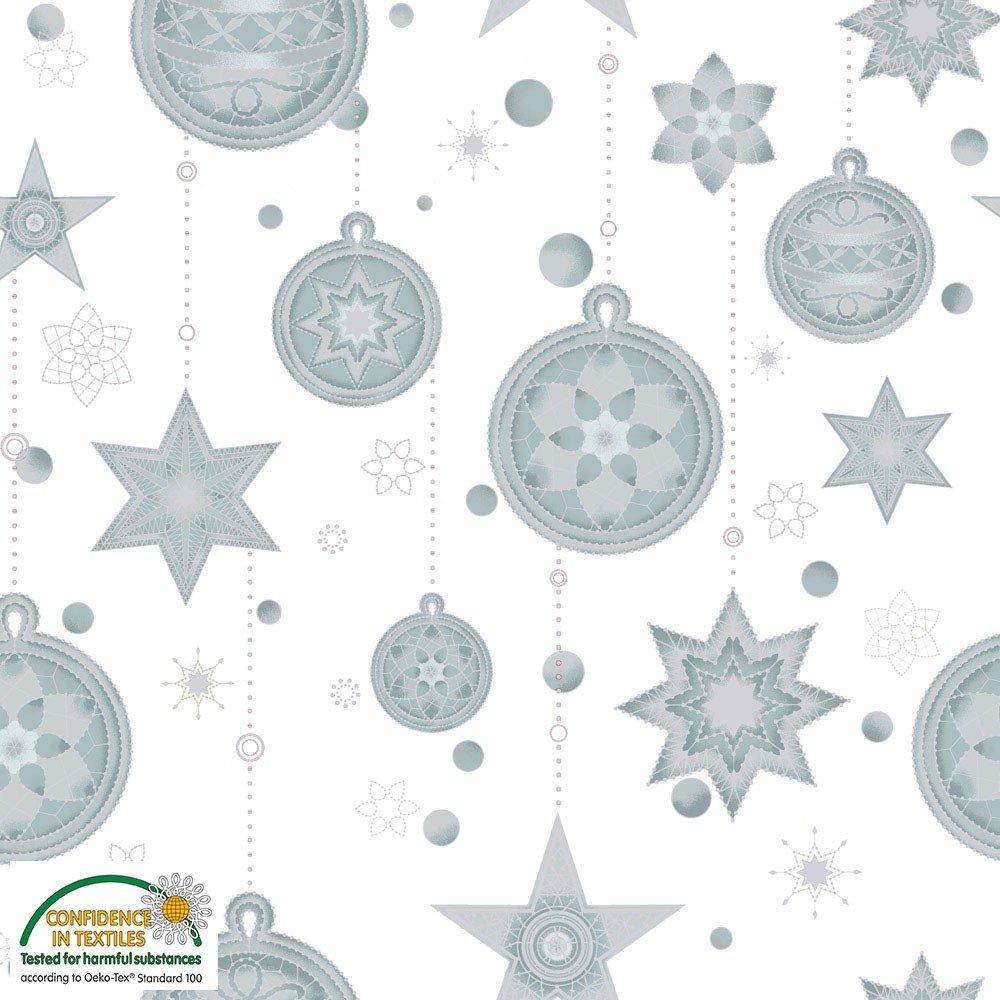 Amazing Stars Ornaments White w/ silver