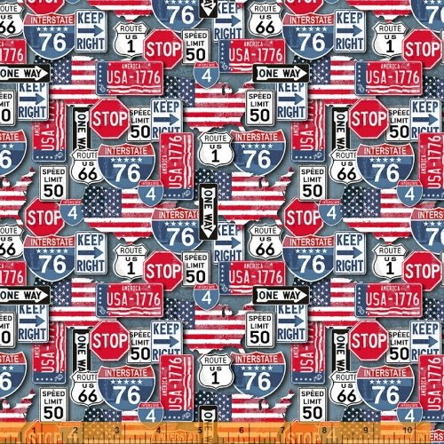 American Road Trip Signs & Plates Multi