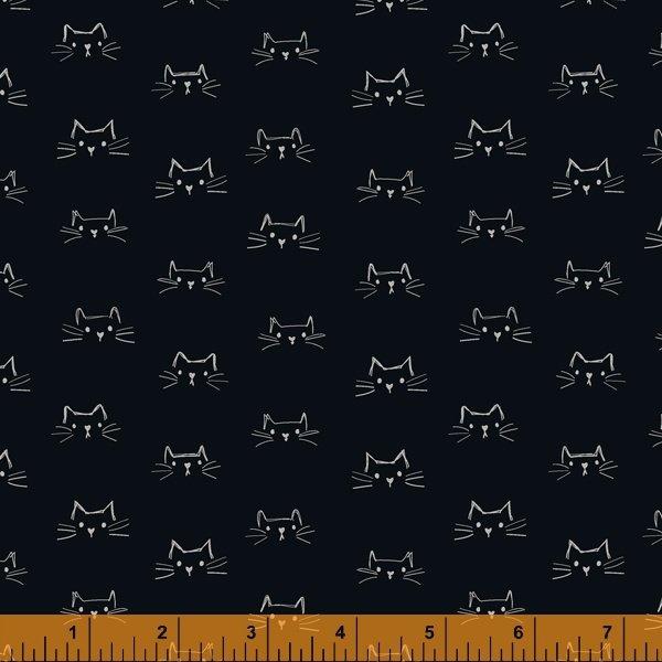 Mod Cats Cat Faces Soft Black