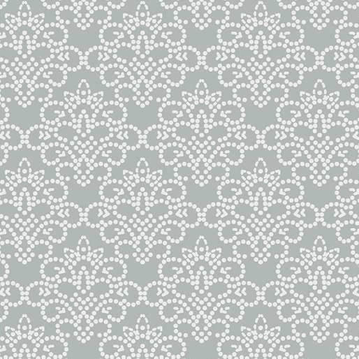 Grandeur Rose Dotted Damask Gray