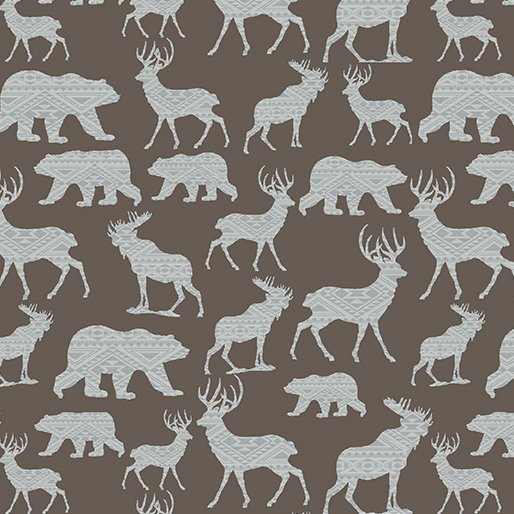 Modern Lodge Mtn Patterned Silhouette Brown