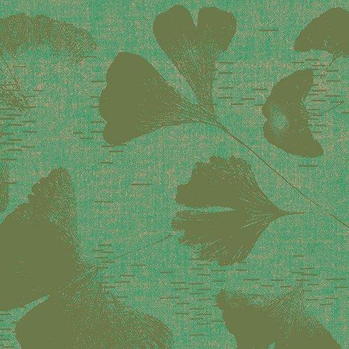 Geishas and Ginkgos Chambray - Ginkgos Green