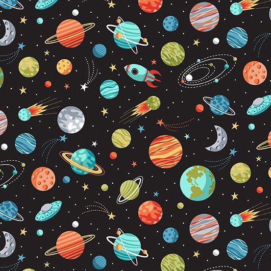 Outer Space Planets Black