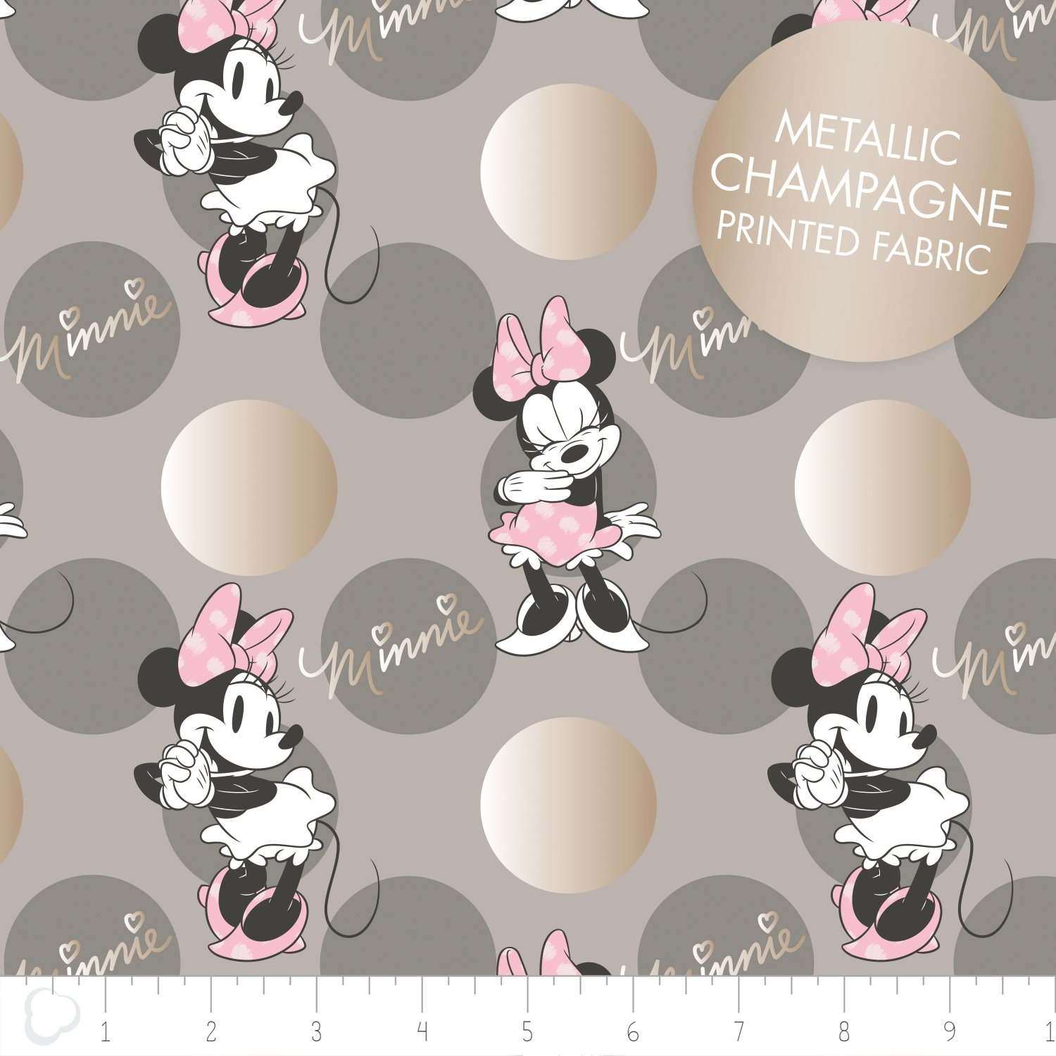 Minnie Mouse Jumbo Dot in Grey + Metallic