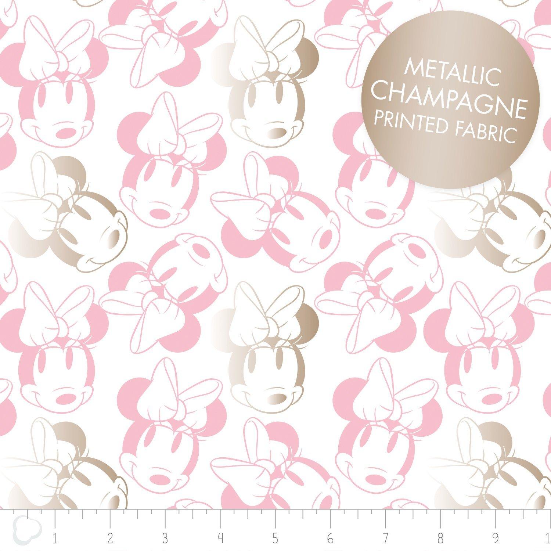 Minnie Mouse Face Outline Metallic White
