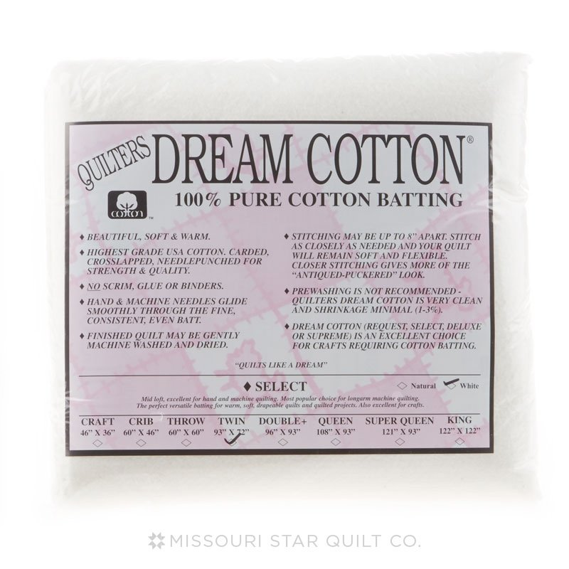 Quilters Dream Select White Cotton Batting - Twin (93x72)