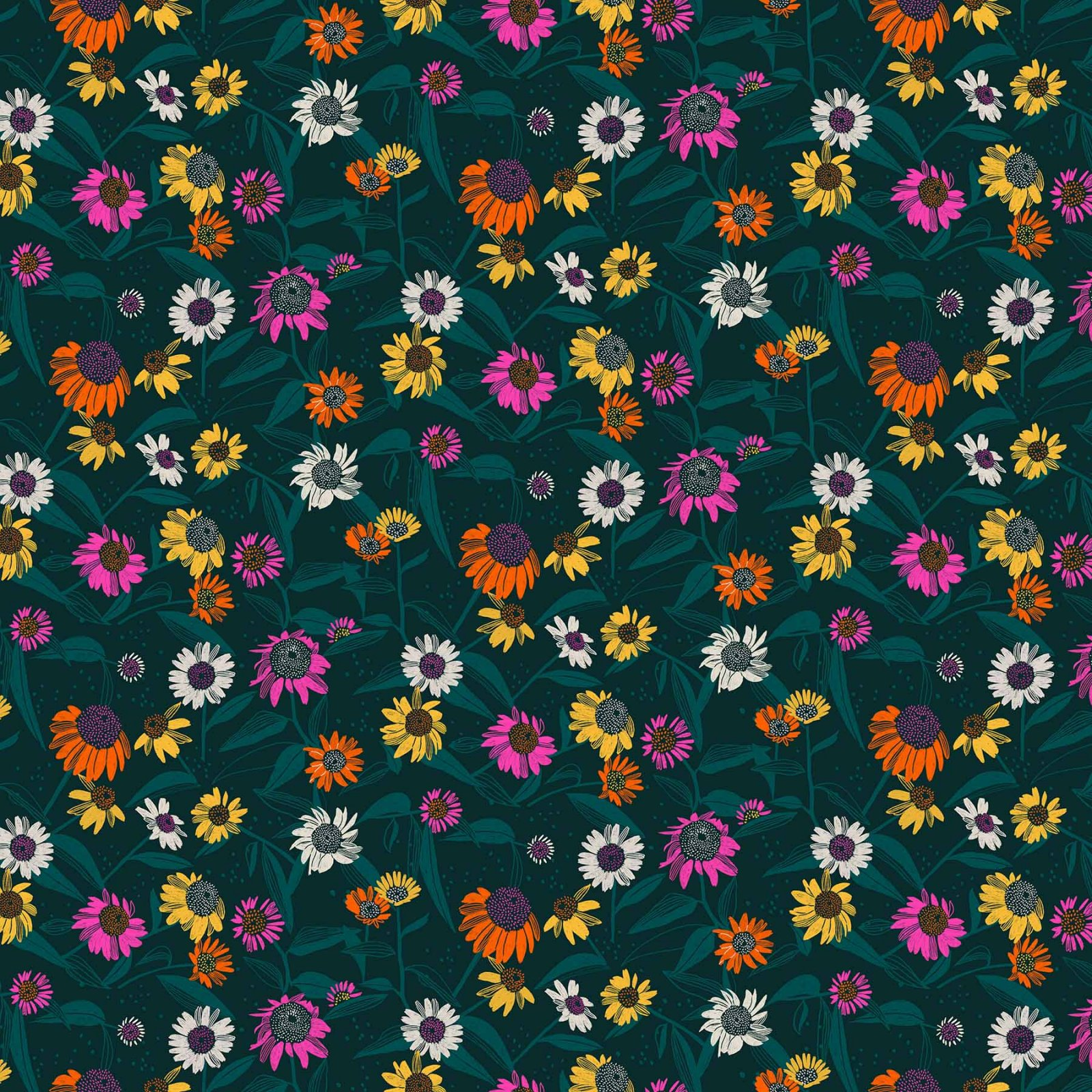 Flora Echinacea Dk. Teal