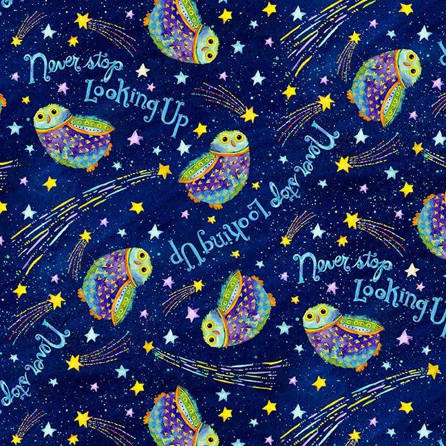 Stay Wild Moon Child Owls in Night Sky Navy