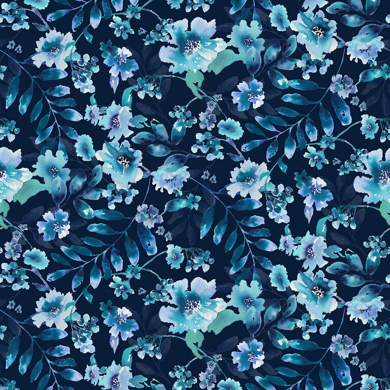 Midnight Sapphire Watercolor Lg. Floral Navy