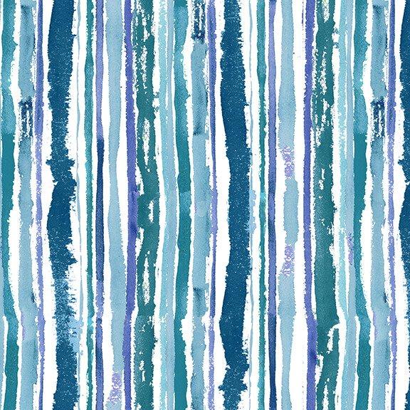 Midnight Sapphire Watercolor Stripe Multi Blues