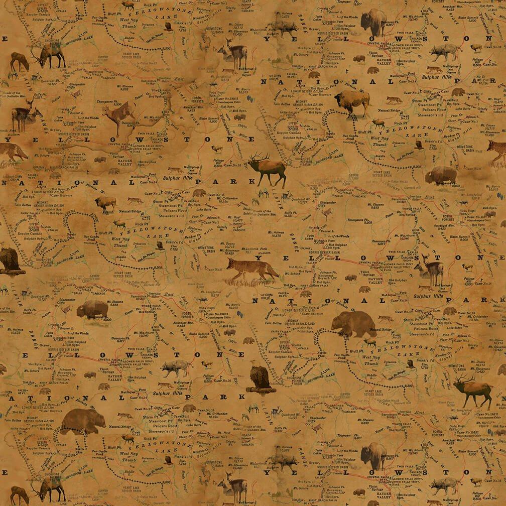 Yellowstone Map Gold