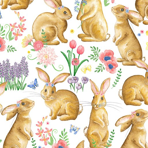 Bunnies & Blossoms Bunny Friends White