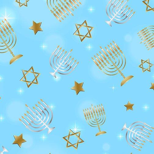 Festival of Lights Menorahs & Stars Sky Blue
