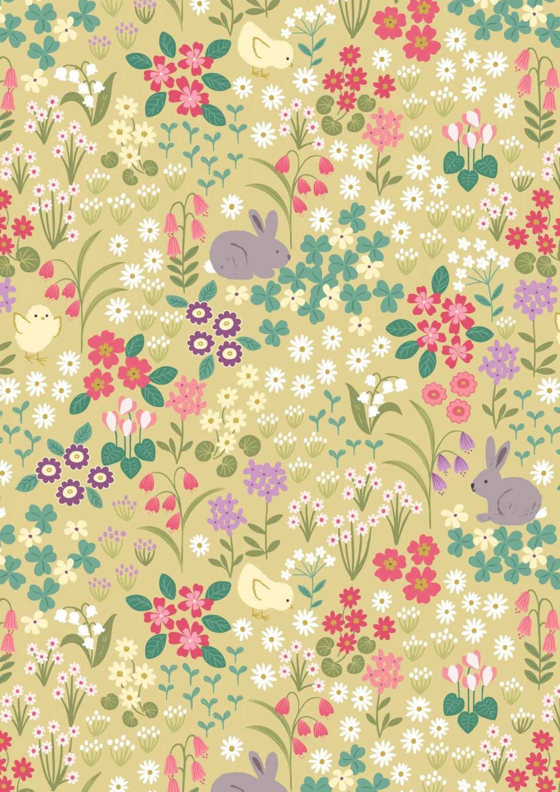 Bunny Hop Bunny & Chick Floral on Spring Yellow