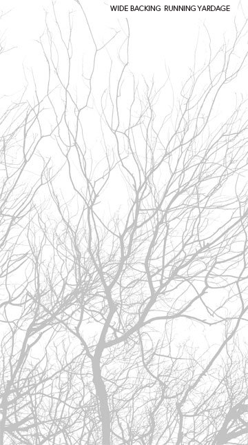Silhouette Border Trees 108 wide backing Gray/White