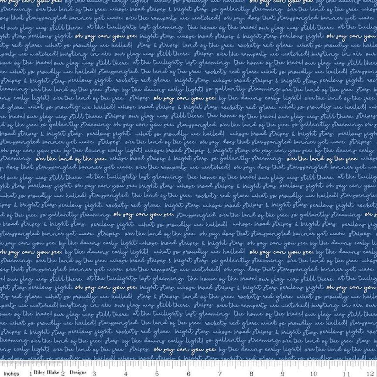 Land of Liberty Text Navy