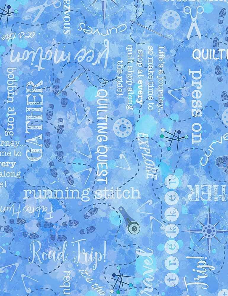 Quilters Trek Text Blue