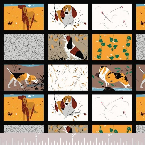 Charley Harper Backyard Dogs Panel (3 rows)