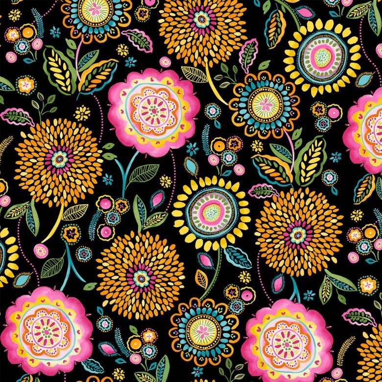 Happy Day Floral Wonderland Black