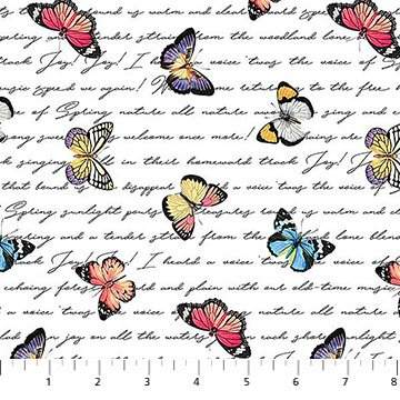 Botanica Butterflies on Script White