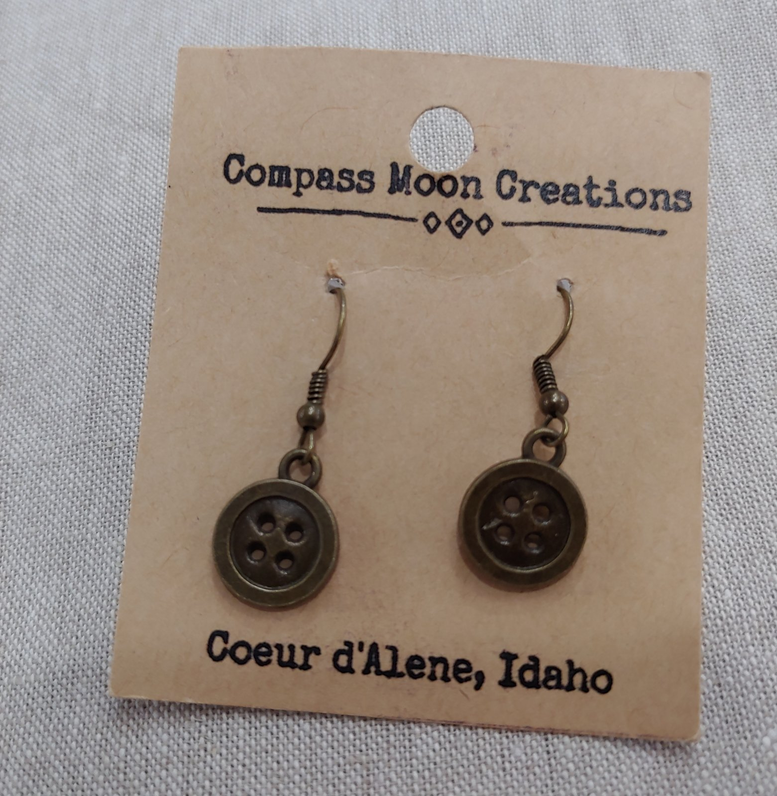 Earrings - Button Bronze