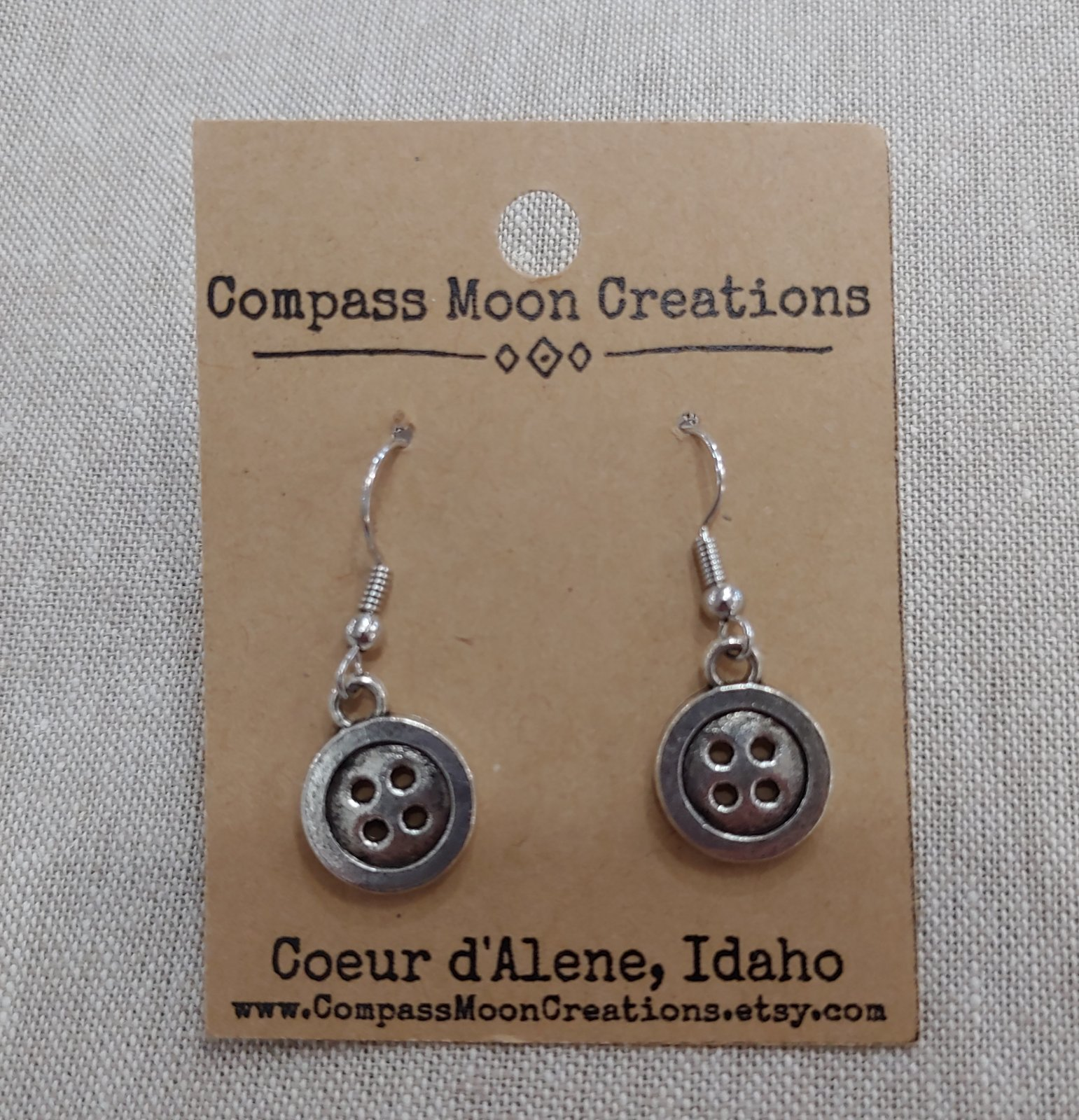 Earrings - Button Silver