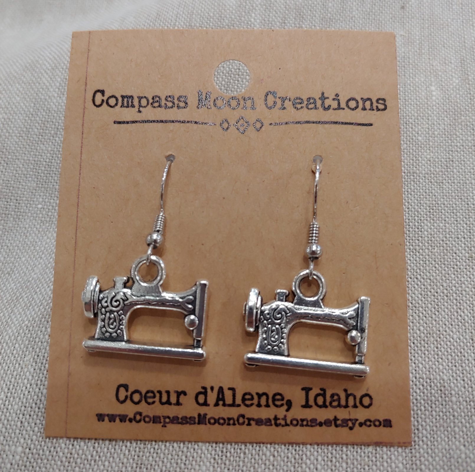 Earrings - Sewing Machine 1 Silver