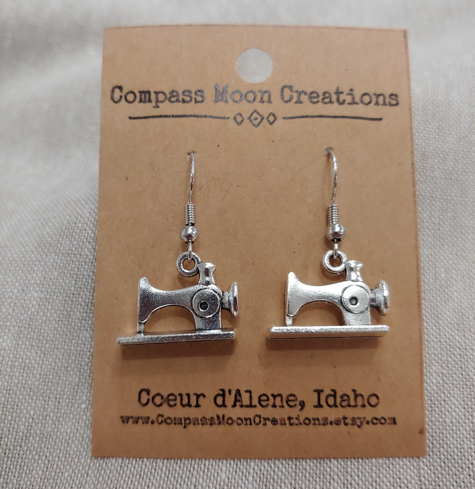 Earrings - Sewing Machine 2 Silver