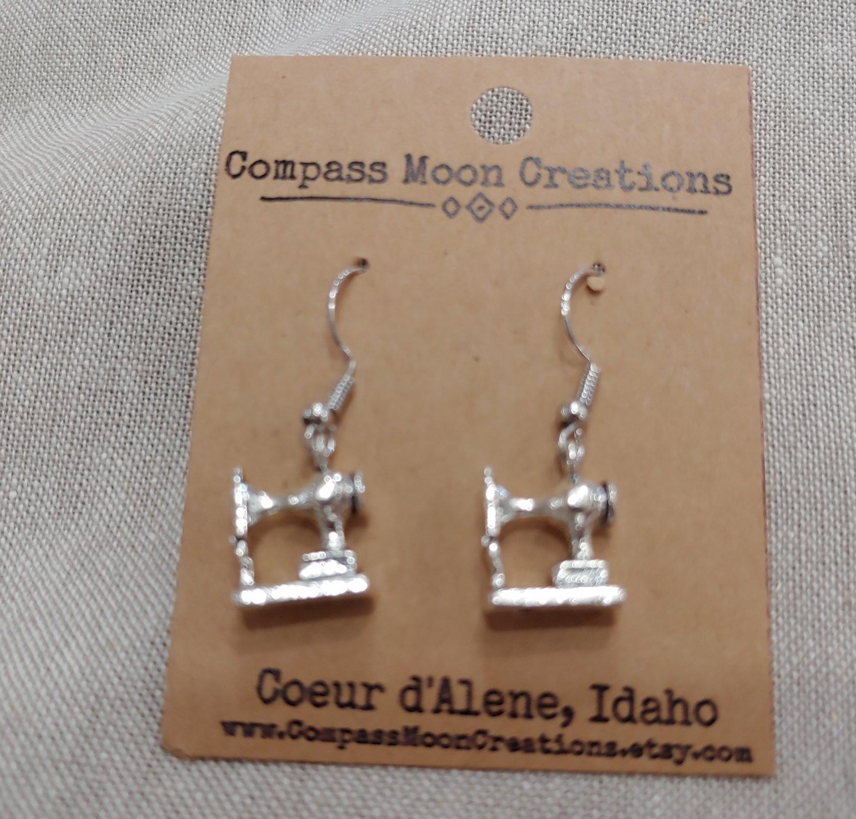 Earrings - Sewing Machine 3 Silver
