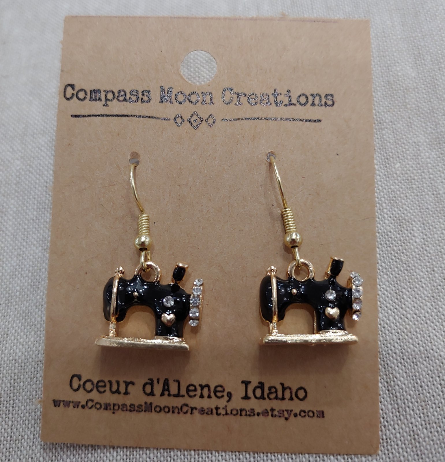 Earrings - Sewing Machine Black