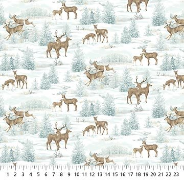 Frosted Woodland Flannel Deer