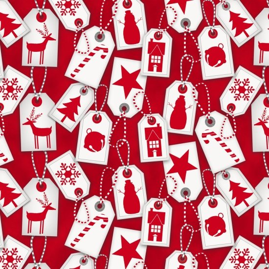 Frosty Friend Flannel Holiday Tags Red