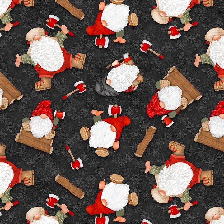 Flannel Gnomies Tossed Gnomes Black