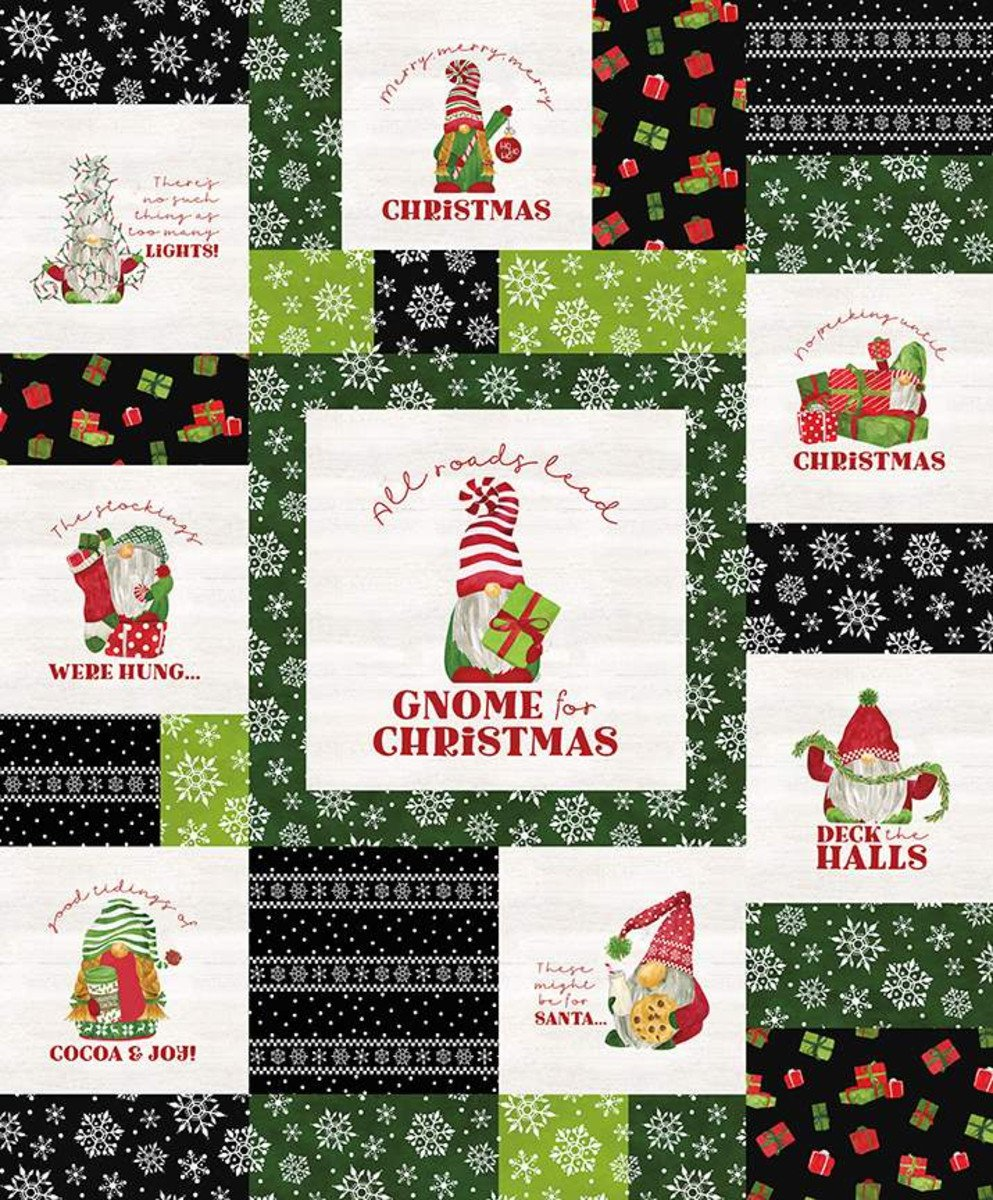 Gnome for Christmas Flannel Panel Black (36x43) #144