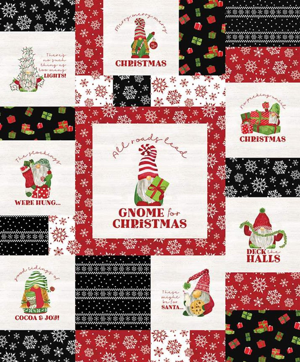 Gnome for Christmas Flannel Panel Red (36x43) #145