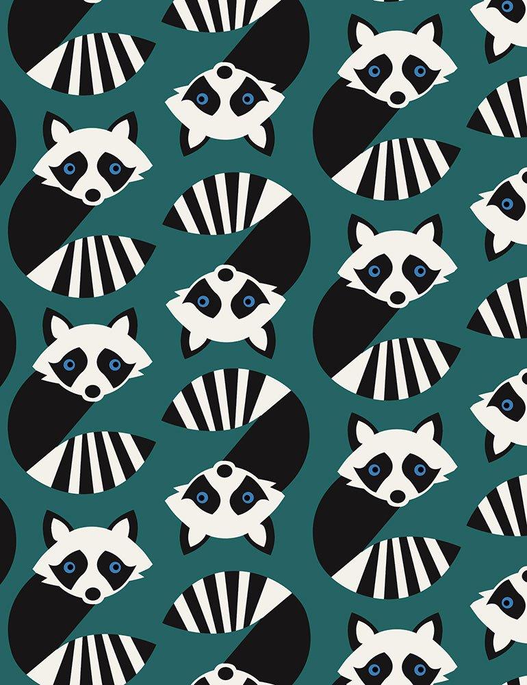 Geometric Raccoons Teal