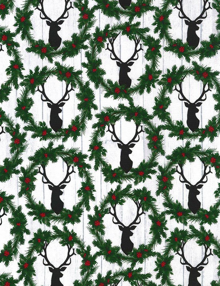 Christmas Cabin - Deer Heads & Wreaths
