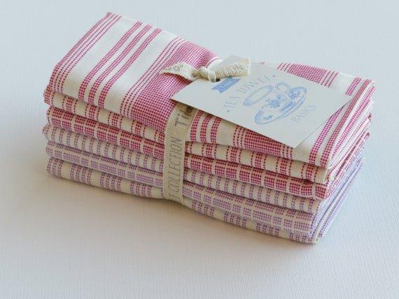 Tilda - Tea Towel Basics FQ Bundle Red Plum (6pcs)