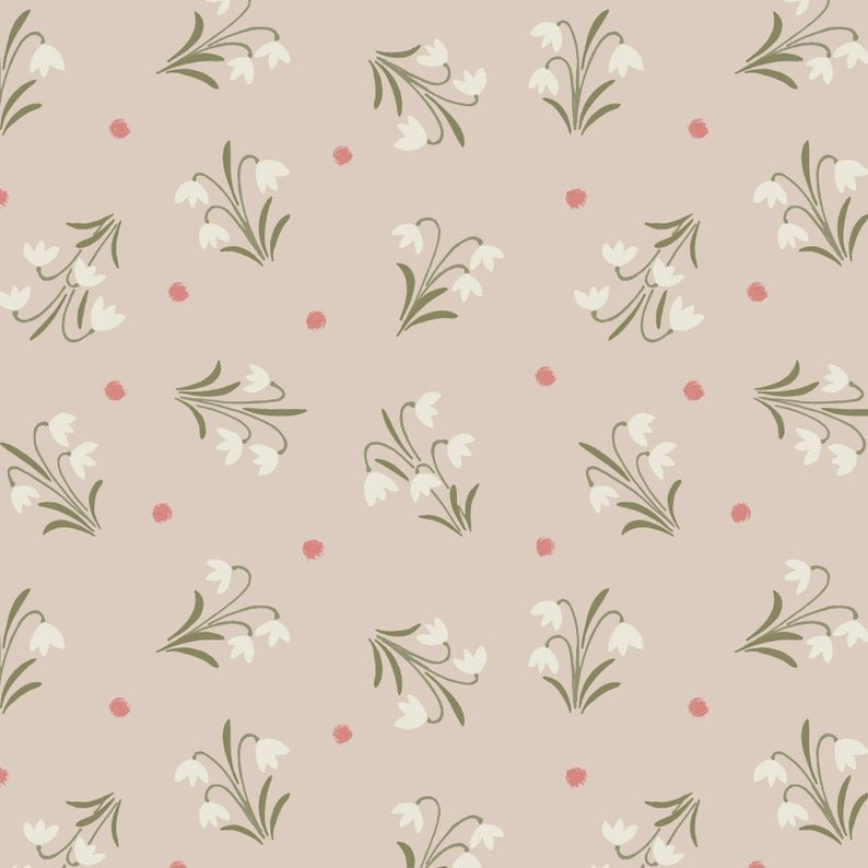 Enchanted Forest - Snowdrops On Light Biscuit